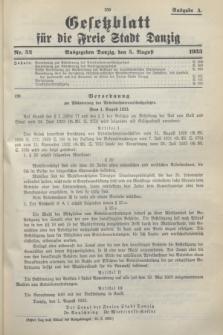 Gesetzblatt für die Freie Stadt Danzig.1933, Nr. 52 (5 August) - Ausgabe A