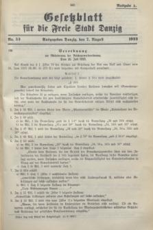 Gesetzblatt für die Freie Stadt Danzig.1933, Nr. 53 (7 August) - Ausgabe A