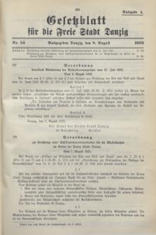 Gesetzblatt für die Freie Stadt Danzig.1933, Nr. 54 (8 August) - Ausgabe A