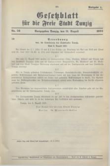 Gesetzblatt für die Freie Stadt Danzig.1933, Nr. 56 (11 August) - Ausgabe A