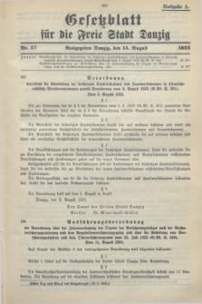 Gesetzblatt für die Freie Stadt Danzig.1933, Nr. 57 (14 August) - Ausgabe A