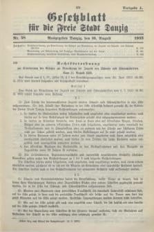 Gesetzblatt für die Freie Stadt Danzig.1933, Nr. 58 (16 August) - Ausgabe A