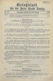 Gesetzblatt für die Freie Stadt Danzig.1933, Nr. 63 (30 August) - Ausgabe A