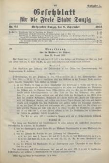 Gesetzblatt für die Freie Stadt Danzig.1933, Nr. 64 (6 September) - Ausgabe A