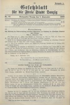 Gesetzblatt für die Freie Stadt Danzig.1933, Nr. 65 (7 September) - Ausgabe A