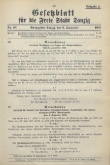 Gesetzblatt für die Freie Stadt Danzig.1933, Nr. 66 (9 September) - Ausgabe A