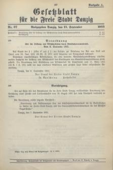 Gesetzblatt für die Freie Stadt Danzig.1933, Nr. 67 (13 September) - Ausgabe A