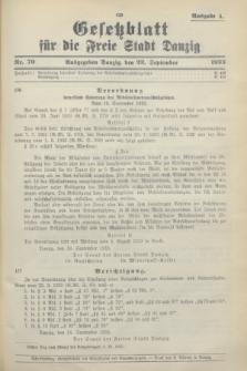 Gesetzblatt für die Freie Stadt Danzig.1933, Nr. 70 (23 September) - Ausgabe A