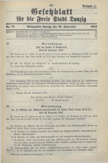 Gesetzblatt für die Freie Stadt Danzig.1933, Nr. 74 (30 September) - Ausgabe A
