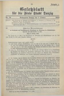 Gesetzblatt für die Freie Stadt Danzig.1933, Nr. 76 (7 Oktober) - Ausgabe A