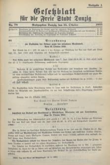 Gesetzblatt für die Freie Stadt Danzig.1933, Nr. 78 (14 Oktober) - Ausgabe A