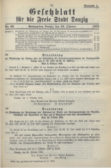 Gesetzblatt für die Freie Stadt Danzig.1933, Nr. 82 (30 Oktober) - Ausgabe A