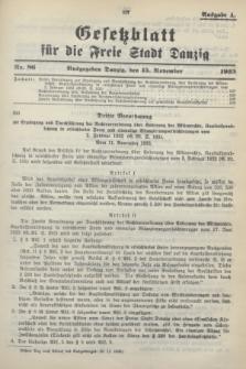 Gesetzblatt für die Freie Stadt Danzig.1933, Nr. 86 (15 November) - Ausgabe A