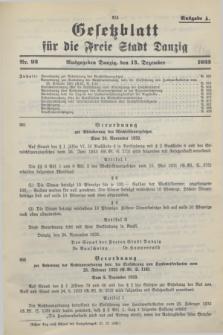 Gesetzblatt für die Freie Stadt Danzig.1933, Nr. 92 (13 Dezember) - Ausgabe A