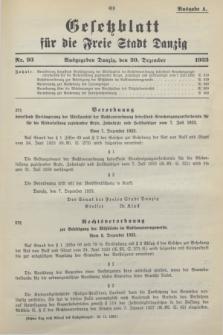 Gesetzblatt für die Freie Stadt Danzig.1933, Nr. 93 (20 Dezember) - Ausgabe A