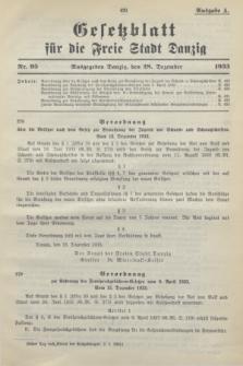 Gesetzblatt für die Freie Stadt Danzig.1933, Nr. 95 (28 Dezember) - Ausgabe A