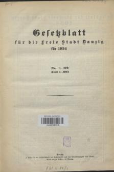 Gesetzblatt für die Freie Stadt Danzig.1934, Spis treści