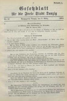 Gesetzblatt für die Freie Stadt Danzig.1934, Nr. 14 (3 März) - Ausgabe A