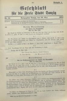 Gesetzblatt für die Freie Stadt Danzig.1934, Nr. 40 (29 Mai) - Ausgabe A