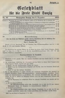 Gesetzblatt für die Freie Stadt Danzig.1934, Nr. 94 (5 Dezember) - Ausgabe A