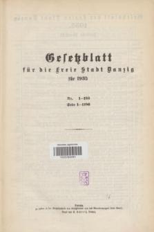 Gesetzblatt für die Freie Stadt Danzig.1935, Spis treści