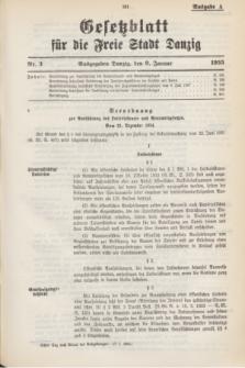 Gesetzblatt für die Freie Stadt Danzig.1935, Nr. 3 (9 Januar) - Ausgabe A