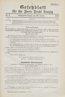 Gesetzblatt für die Freie Stadt Danzig.1935, Nr. 8 (26 Januar) - Ausgabe A