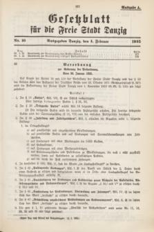 Gesetzblatt für die Freie Stadt Danzig.1935, Nr. 10 (4 Februar) - Ausgabe A