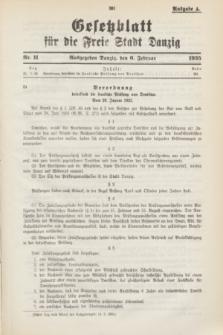 Gesetzblatt für die Freie Stadt Danzig.1935, Nr. 11 (6 Februar) - Ausgabe A