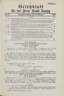 Gesetzblatt für die Freie Stadt Danzig.1935, Nr. 12 (13 Februar) - Ausgabe A