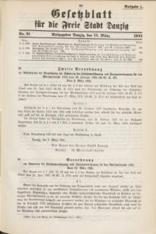 Gesetzblatt für die Freie Stadt Danzig.1935, Nr. 21 (15 März) - Ausgabe A