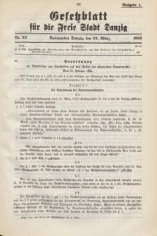 Gesetzblatt für die Freie Stadt Danzig.1935, Nr. 23 (23 März) - Ausgabe A
