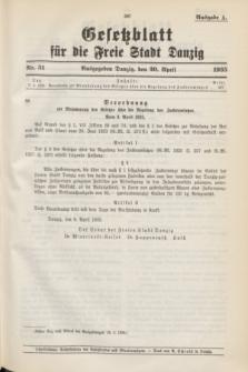 Gesetzblatt für die Freie Stadt Danzig.1935, Nr. 31 (20 April) - Ausgabe A