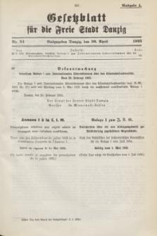 Gesetzblatt für die Freie Stadt Danzig.1935, Nr. 34 (30 April) - Ausgabe A