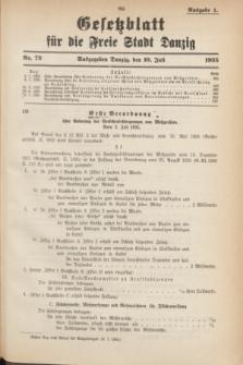 Gesetzblatt für die Freie Stadt Danzig.1935, Nr. 72 (10 Juli) - Ausgabe A