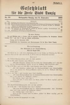 Gesetzblatt für die Freie Stadt Danzig.1935, Nr. 93 (11 September) - Ausgabe A