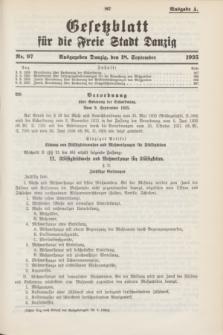 Gesetzblatt für die Freie Stadt Danzig.1935, Nr. 97 (18 September) - Ausgabe A