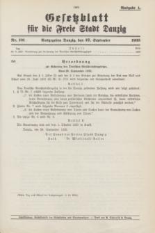 Gesetzblatt für die Freie Stadt Danzig.1935, Nr. 101 (27 September) - Ausgabe A