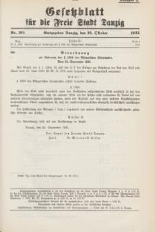 Gesetzblatt für die Freie Stadt Danzig.1935, Nr. 105 (16 October) - Ausgabe A