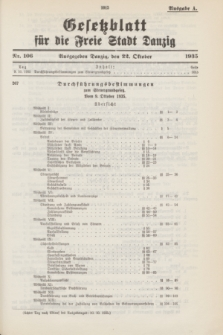 Gesetzblatt für die Freie Stadt Danzig.1935, Nr. 106 (22 October) - Ausgabe A