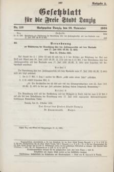 Gesetzblatt für die Freie Stadt Danzig.1935, Nr. 112 (19 November) - Ausgabe A