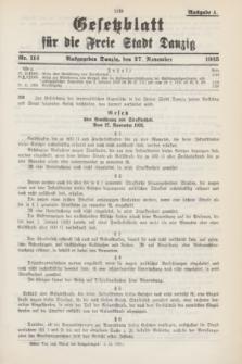 Gesetzblatt für die Freie Stadt Danzig.1935, Nr. 114 (27 November) - Ausgabe A