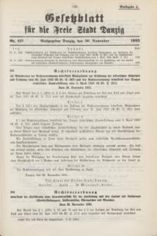 Gesetzblatt für die Freie Stadt Danzig.1935, Nr. 115 (30 November) - Ausgabe A
