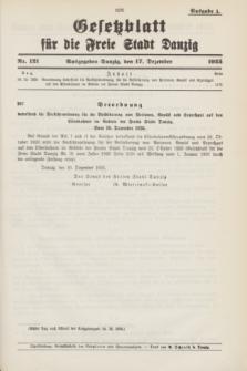 Gesetzblatt für die Freie Stadt Danzig.1935, Nr. 121 (17 Dezember) - Ausgabe A