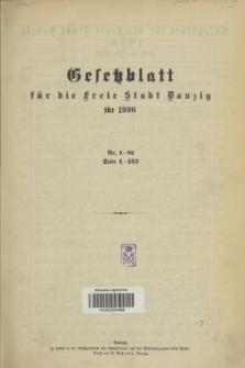 Gesetzblatt für die Freie Stadt Danzig.1936, Spis treści