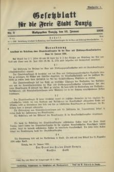 Gesetzblatt für die Freie Stadt Danzig.1936, Nr. 3 (14 Januar) - Ausgabe A