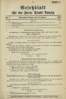 Gesetzblatt für die Freie Stadt Danzig.1936, Nr. 4 (15 Januar) - Ausgabe A