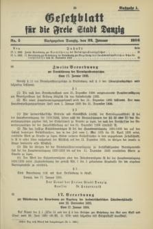 Gesetzblatt für die Freie Stadt Danzig.1936, Nr. 5 (22 Januar) - Ausgabe A