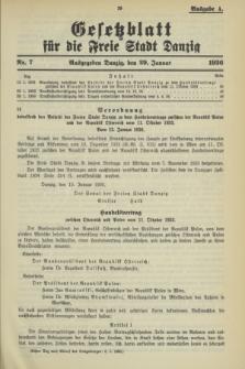 Gesetzblatt für die Freie Stadt Danzig.1936, Nr. 7 (29 Januar) - Ausgabe A