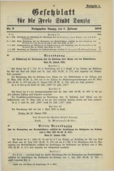 Gesetzblatt für die Freie Stadt Danzig.1936, Nr. 9 (5 Februar) - Ausgabe A
